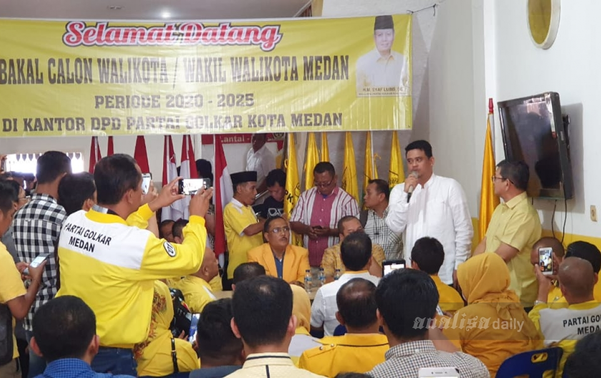 Bobby Nasution Daftar Calon Wali Kota Medan Melalui Partai Golkar