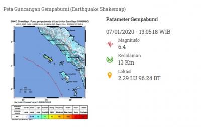 Gempa Bumi di Sinabang Tidak Berpotensi Tsunami