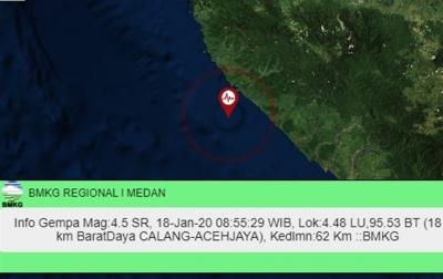 Gempa Magnitudo 4,5 Getarkan Banda Aceh