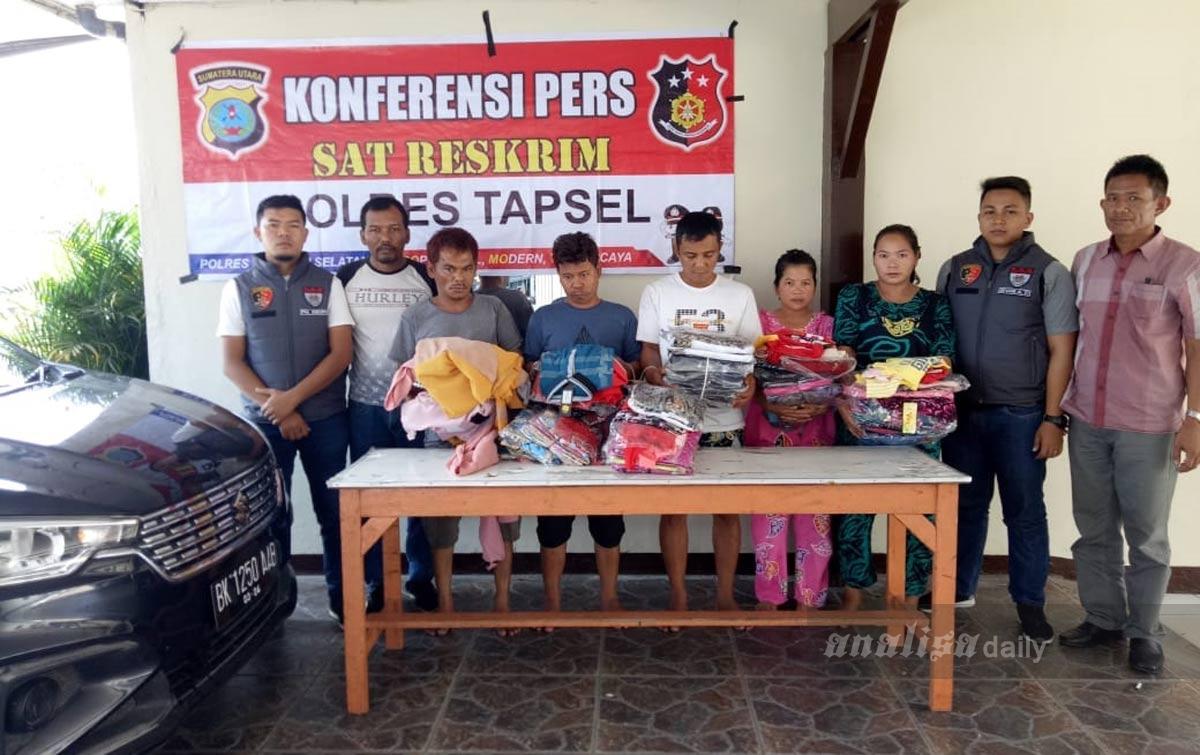 Polres Tapsel Ringkus Komplotan Pencuri Pakaian Asal Deliserdang
