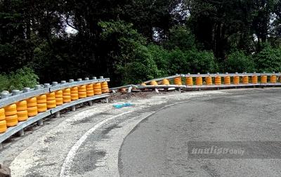 Rusak Ditabrak, Guardrail Batas Karo-Deli Serdang Belum Diperbaiki