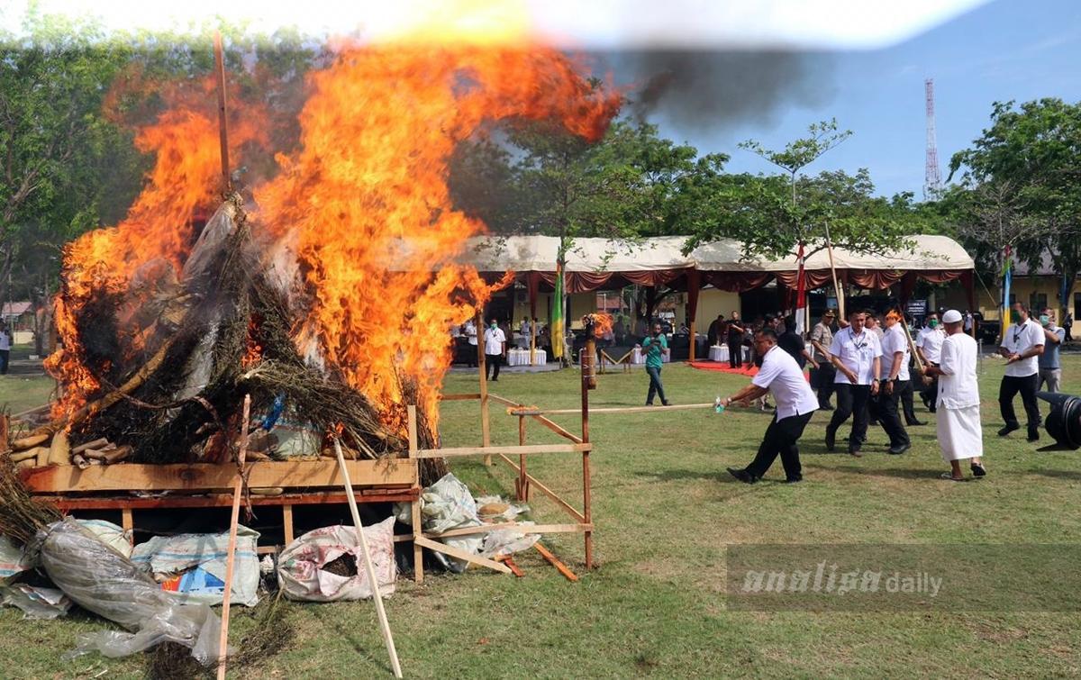 Polda Aceh MusnahkanNarkotika Hasil Operasi Antik Rencong