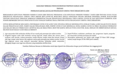 Aceh Berlakukan Jam Malam Selama Dua Bulan