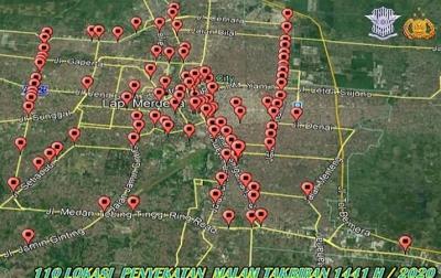 110 Titik Jalan di Medan dan Deliserdang Disekat Saat Malam Takbiran