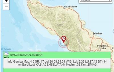 Gempa di Aceh Selatan Tidak Berpotensi Tsunami