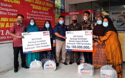 BRI Kisaran Gandeng BRIlink Aplus untuk Bagi Sembako