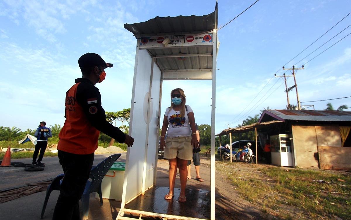 Foto: Pintu Masuk Kota Bagansiapiapi Dijaga Ketat