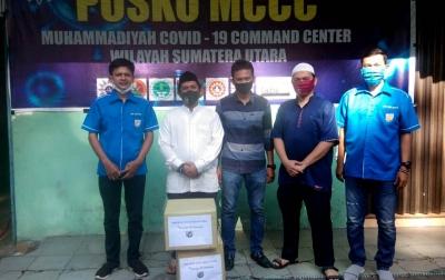 KNPI Sumut Bagikan Masker dan Face Shield ke Panitia Kurban PW Muhammadiyah