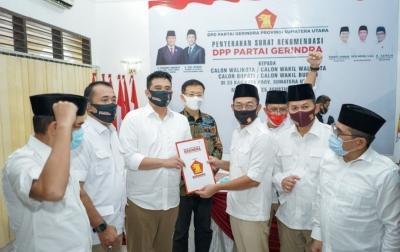 Susul PDIP dan Golkar, Gerindra Rekom Bobby-Aulia di Pilkada Medan