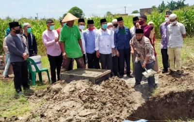 Santunan Anak Yatim Tandai Peletakan Batu Pertama Masjid PWI Sumut