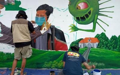 Melalui Mural, Masyarakat Kota Medan Diajak Pakai Masker