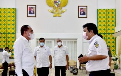 Gubsu Minta PT KAI Satukan Program Penataan Kota Medan