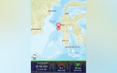 Warga Majene Kembali Rasakan Guncangan Kuat Gempa M5,2