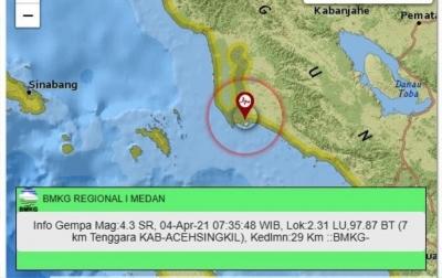 Gempa 4,3 Magnitudo Getarkan Aceh Singkil