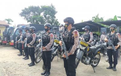 Jelang PSU di Labuhanbatu, Brimob Polda Sumut Patroli Cipta Kondisi