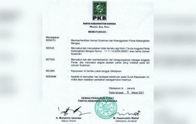 Ketua PKB Bireuen Usman Sulaiman Dipecat dan di-PAW dari Anggota DPRK