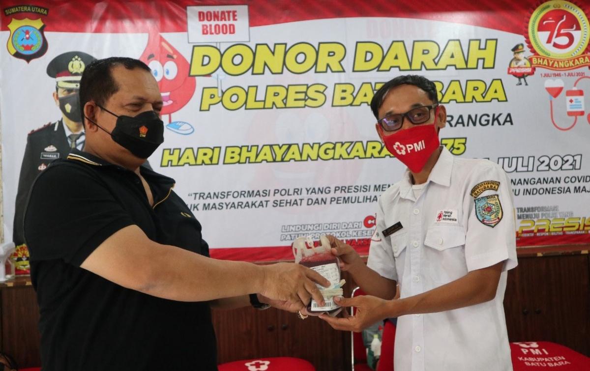 Polres Batubara Serahkan 120 Kantong Darah Kepada PMI