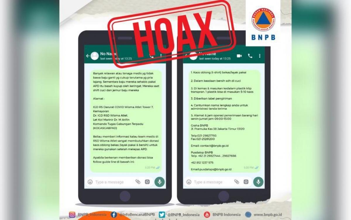 Hoaks: Donasi Kaos Oblong Bekas untuk Petugas Medis dan Relawan Satgas Covid-19