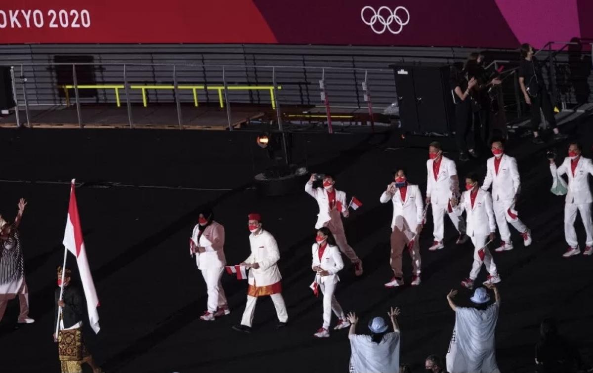 Kontingen Indonesia Tampil Gagah Saat Pembukaan Olimpiade Tokyo 2020