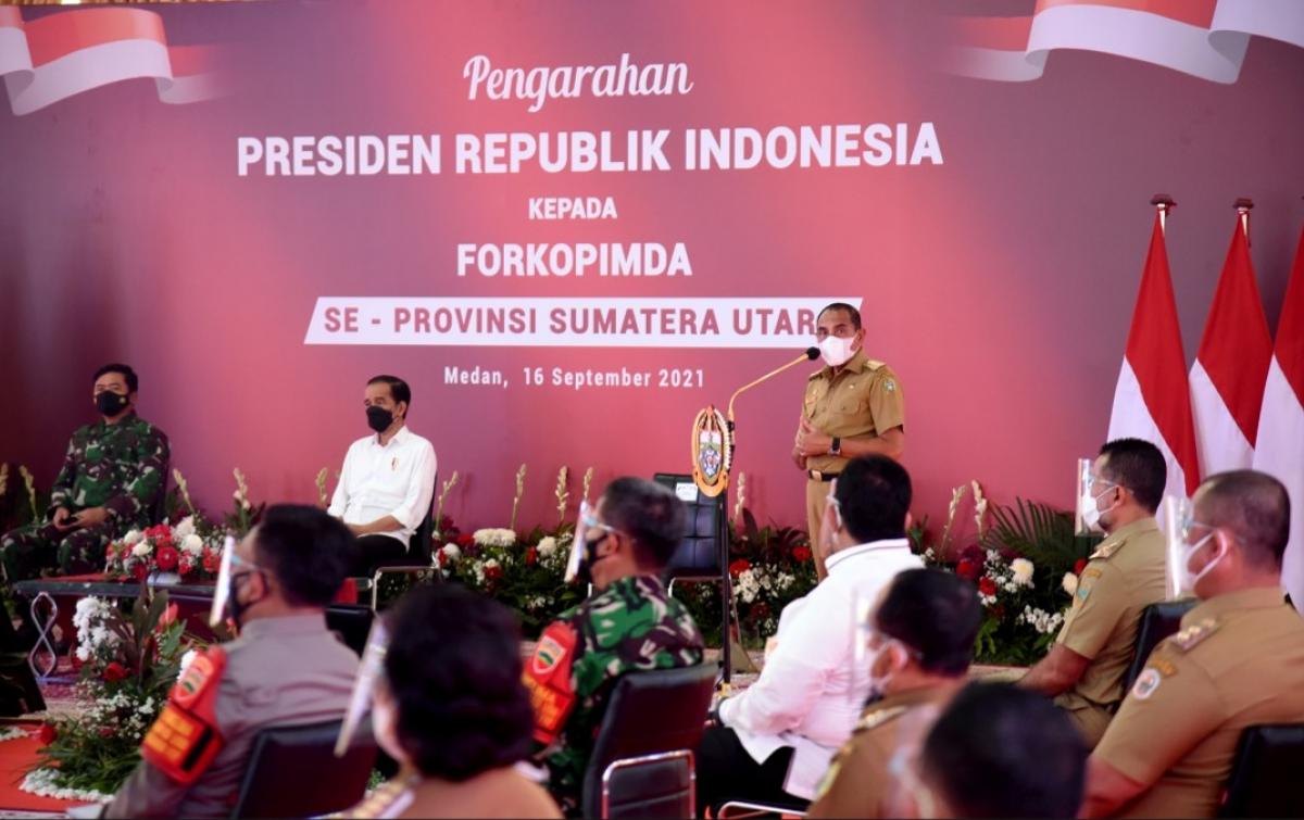 Edy Rahmayadi Laporkan Penurunan Kasus Covid-19 ke Presiden Jokowi