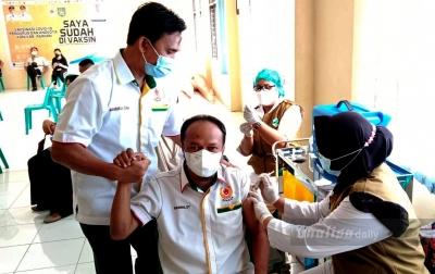 Pengurus KONI Asahan Beserta Cabor Ikut Vaksinasi Covid-19 Tahap 1