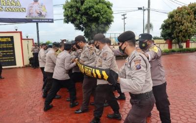 Polres Asahan Melatih Kemampuan Personil Dalmas
